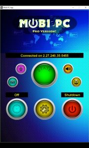 Mobi PC App control panel