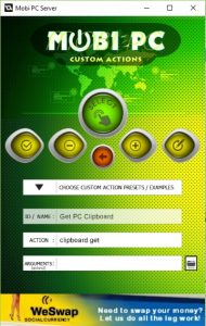 Mobi PC Server Custom actions
